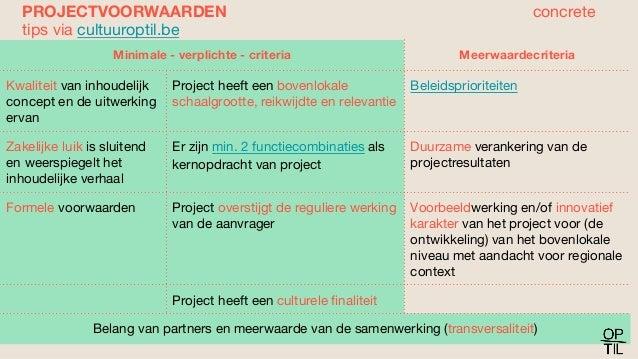 Minimale - verplichte - criteria Meerwaardecriteria Kwaliteit van inhoudelijk concept en de uitwerking ervan Project heeft...