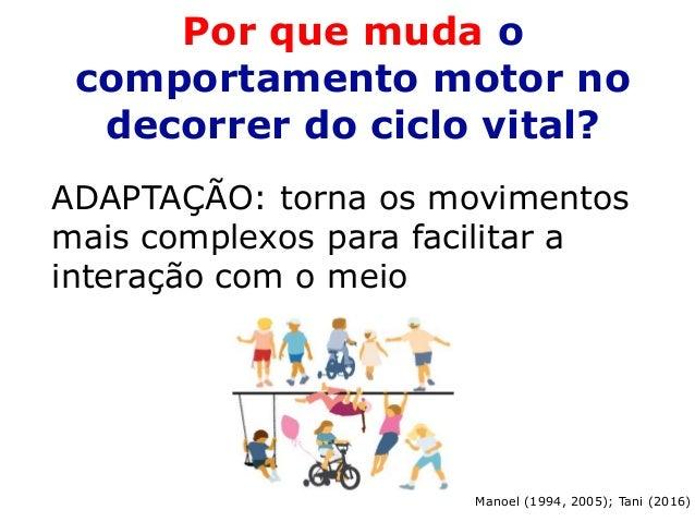 Por que muda o comportamento motor no decorrer do ciclo vital? ADAPTAÇÃO: torna os movimentos mais complexos para facilita...