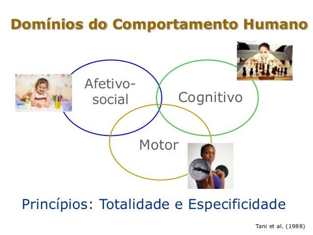 Domínios do Comportamento Humano Afetivo- social Cognitivo Motor Princípios: Totalidade e Especificidade Tani et al. (1988)