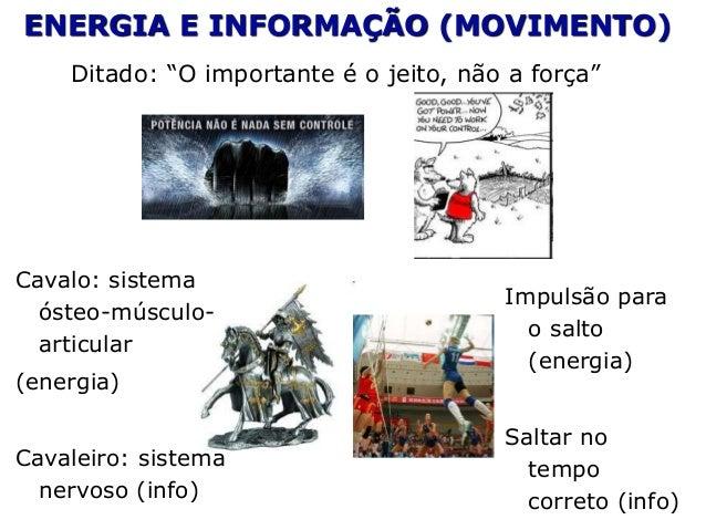 """ENERGIA E INFORMAÇÃO (MOVIMENTO) Ditado: """"O importante é o jeito, não a força"""" Cavalo: sistema ósteo-músculo- articular (e..."""