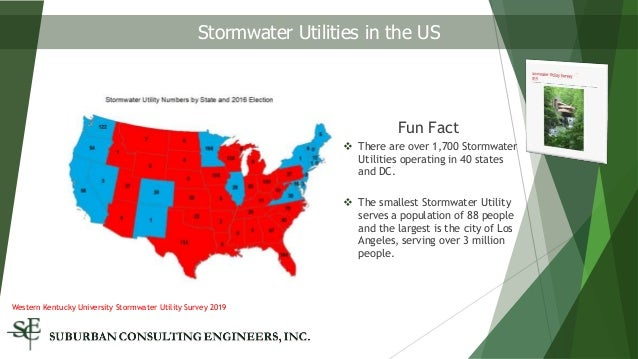 Fun Fact  There are over 1,700 Stormwater Utilities operating in 40 states and DC.  The smallest Stormwater Utility serv...