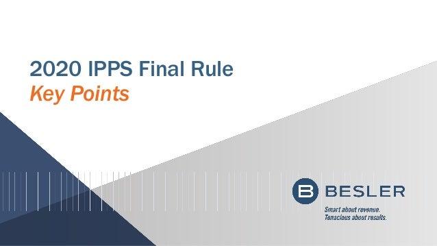 2020 IPPS Final Rule Key Points
