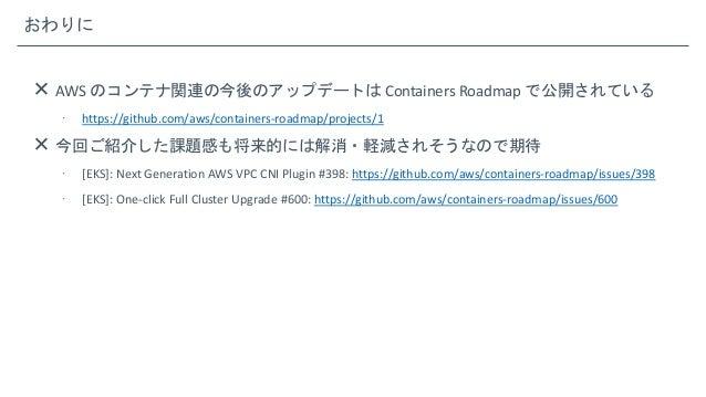 おわりに  AWS のコンテナ関連の今後のアップデートは Containers Roadmap で公開されている  https://github.com/aws/containers-roadmap/projects/1  今回ご紹介した...