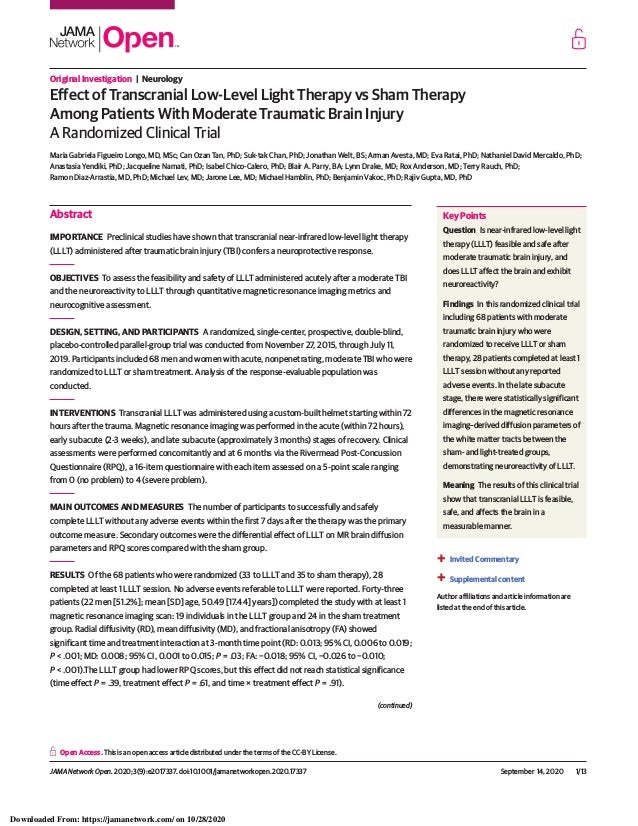 Original Investigation | Neurology Effect of Transcranial Low-Level Light Therapy vs Sham Therapy Among Patients With Mode...