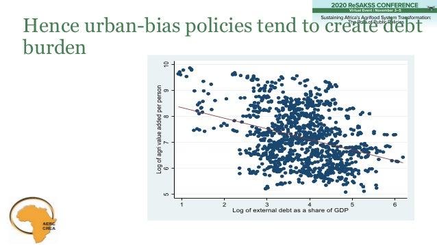 Hence urban-bias policies tend to create debt burden