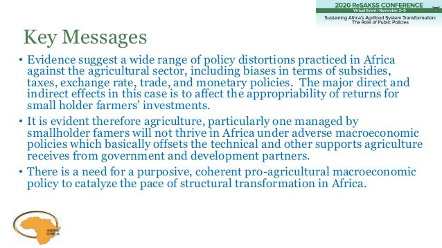 • Evidence suggest a wide range of policy distortions practiced in Africa against the agricultural sector, including biase...