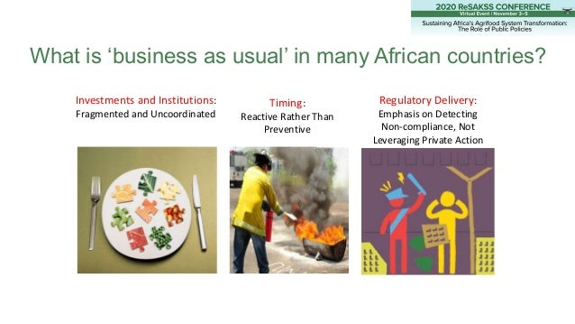 What is 'business as usual' in many African countries? Investments and Institutions: Fragmented and Uncoordinated Timing: ...