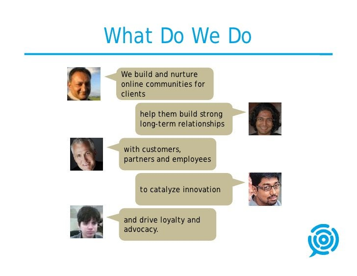 What Do We Do  We build and nurture  online communities for  clients       help them build strong      long-term relations...