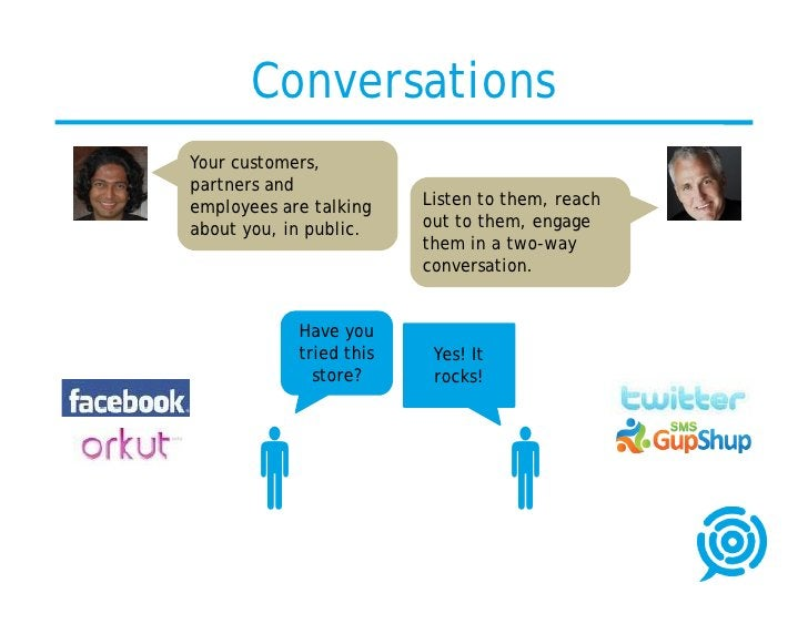 Conversations Your customers, partners and employees are talking    Listen to them, reach about you, in public.    out to ...