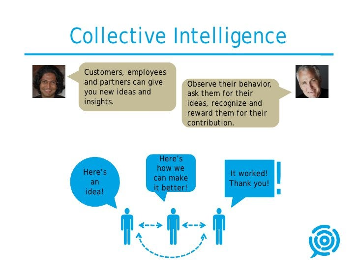 Collective Intelligence  Customers, employees  and partners can give     Observe their behavior,  you new ideas and       ...