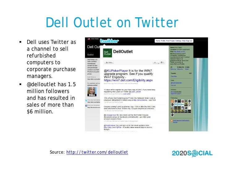 Dell Outlet on Twitter  Dell uses Twitter as   a channel to sell   refurbished   computers to   corporate purchase   mana...