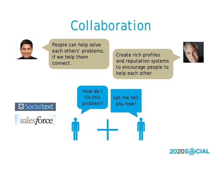 Collaboration People can help solve each others' problems, if we help them           Create rich profiles connect.        ...