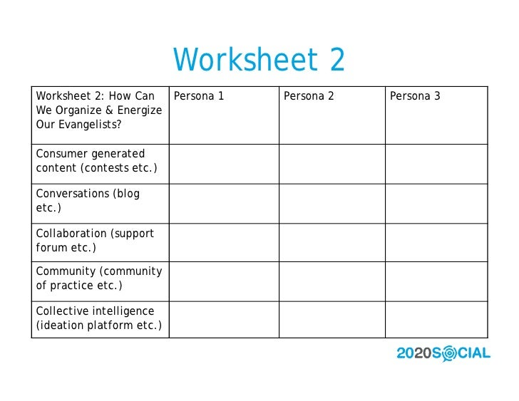 Worksheet 2 Worksheet 2: How Can   Persona 1   Persona 2   Persona 3 We Organize & Energize Our Evangelists?  Consumer gen...