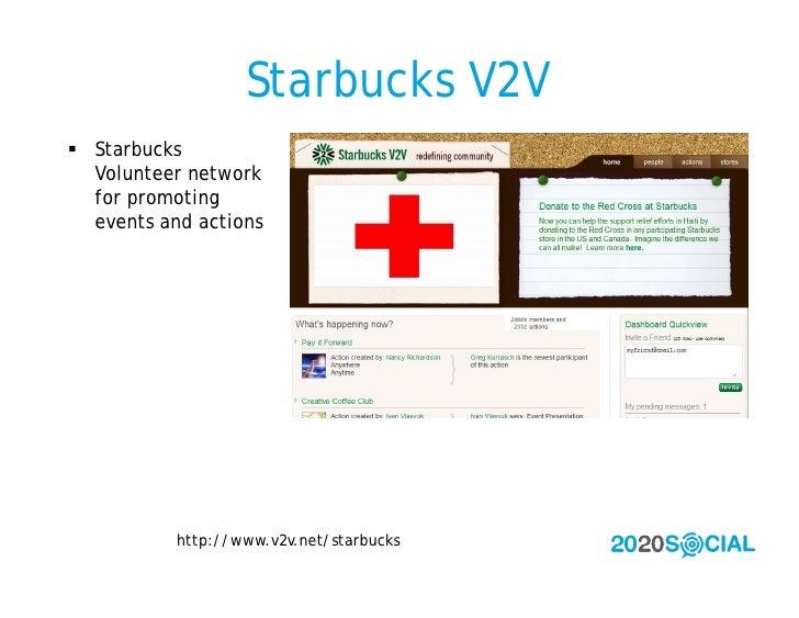 Starbucks V2V  Starbucks   Volunteer network   for promoting   events and actions                http://www.v2v.net/starb...
