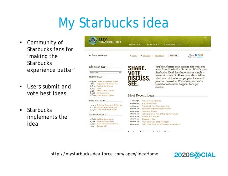 My Starbucks idea  Community of   Starbucks fans for   'making the   Starbucks   experience better'   Users submit and  ...