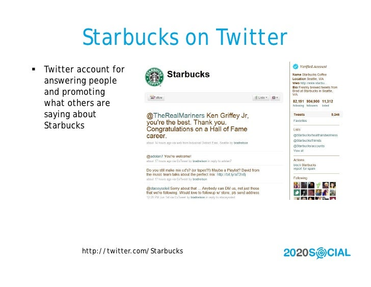 Starbucks on Twitter  Twitter account for   answering people   and promoting   what others are   saying about   Starbucks...