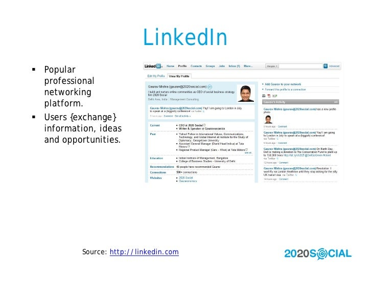 LinkedIn  Popular   professional   networking   platform.  Users {exchange}   information, ideas   and opportunities.   ...