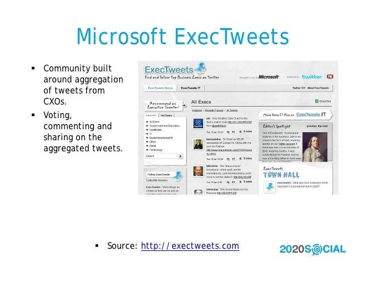 Microsoft ExecTweets  Community built   around aggregation   of tweets from   CXOs.  Voting,   commenting and   sharing ...