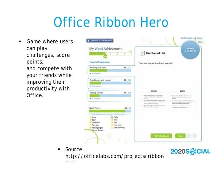 Office Ribbon Hero  Game where users   can play   challenges, score   points,   and compete with   your friends while   i...