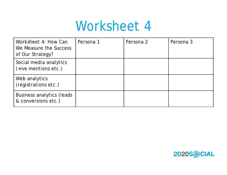 Worksheet 4 Worksheet 4: How Can        Persona 1   Persona 2   Persona 3 We Measure the Success of Our Strategy? Social m...