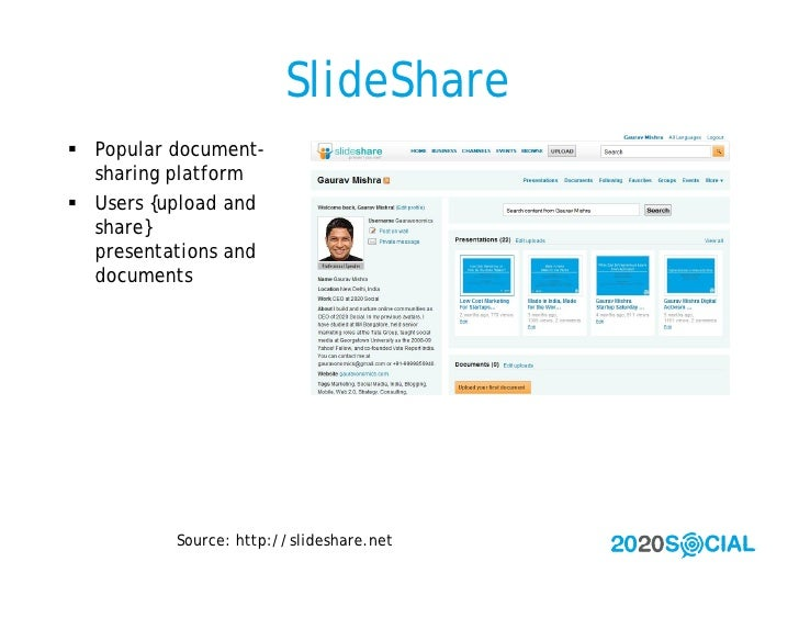 SlideShare  Popular document-   sharing platform  Users {upload and   share}   presentations and   documents            ...