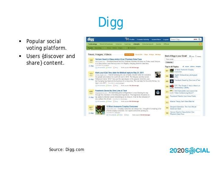 Digg  Popular social   voting platform.  Users {discover and   share} content.                Source: Digg.com