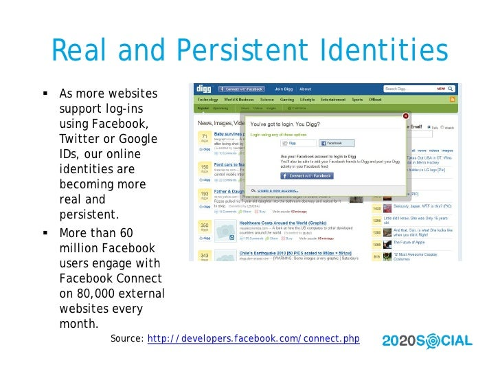 Real and Persistent Identities  As more websites   support log-ins   using Facebook,   Twitter or Google   IDs, our onlin...
