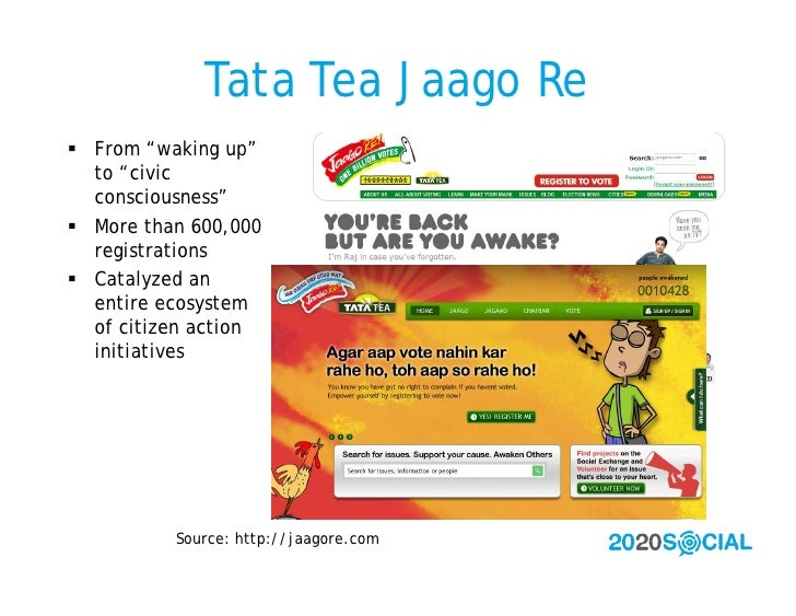 """Tata Tea Jaago Re  From """"waking up""""   to """"civic   consciousness""""  More than 600,000   registrations  Catalyzed an   ent..."""