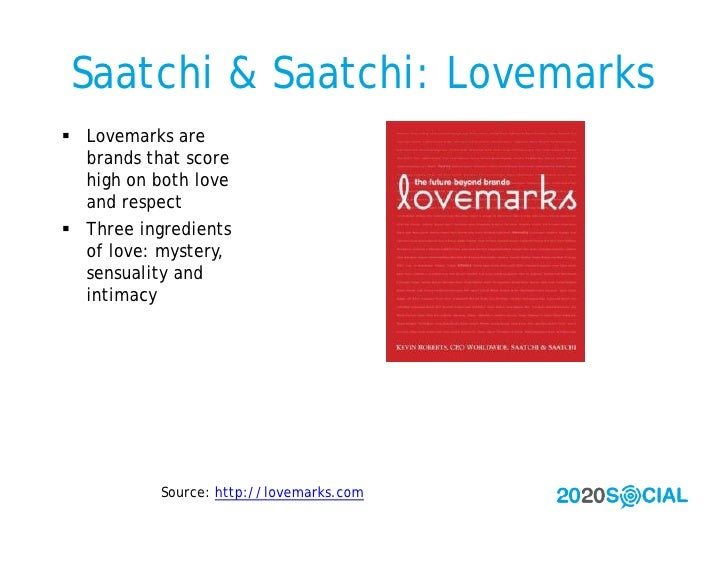 Saatchi & Saatchi: Lovemarks  Lovemarks are   brands that score   high on both love   and respect  Three ingredients   o...