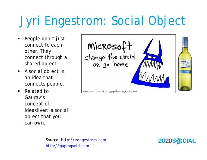 Jyri Engestrom: Social Object  People don't just   connect to each   other. They   connect through a   shared object.  A...