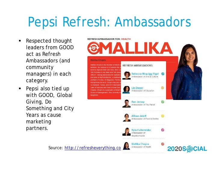 Pepsi Refresh: Ambassadors  Respected thought   leaders from GOOD   act as Refresh   Ambassadors (and   community   manag...