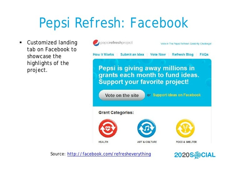 Pepsi Refresh: Facebook  Customized landing   tab on Facebook to   showcase the   highlights of the   project.           ...