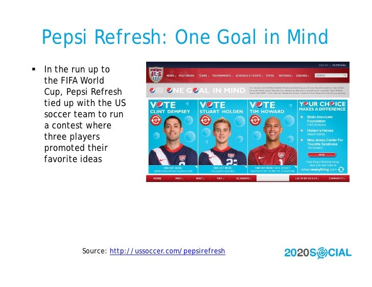 Pepsi Refresh: One Goal in Mind  In the run up to   the FIFA World   Cup, Pepsi Refresh   tied up with the US   soccer te...