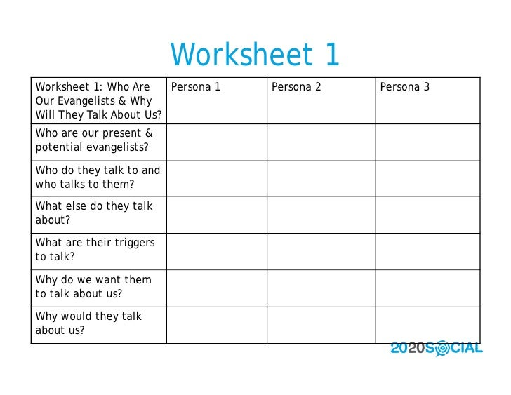 Worksheet 1 Worksheet 1: Who Are     Persona 1   Persona 2   Persona 3 Our Evangelists & Why Will They Talk About Us? Who ...