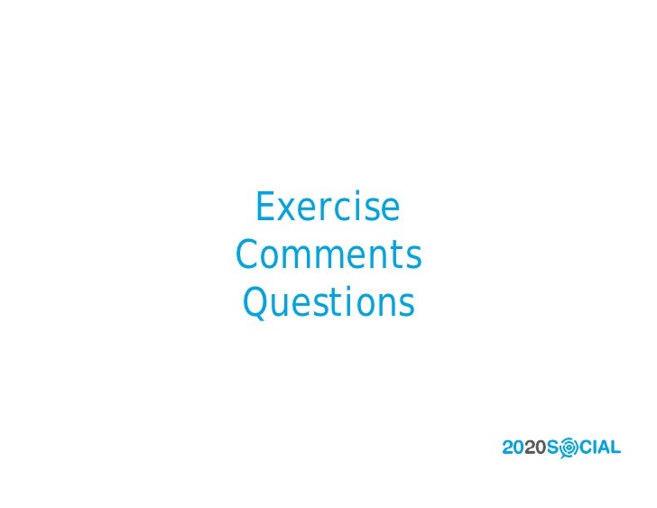 Exercise Comments Questions