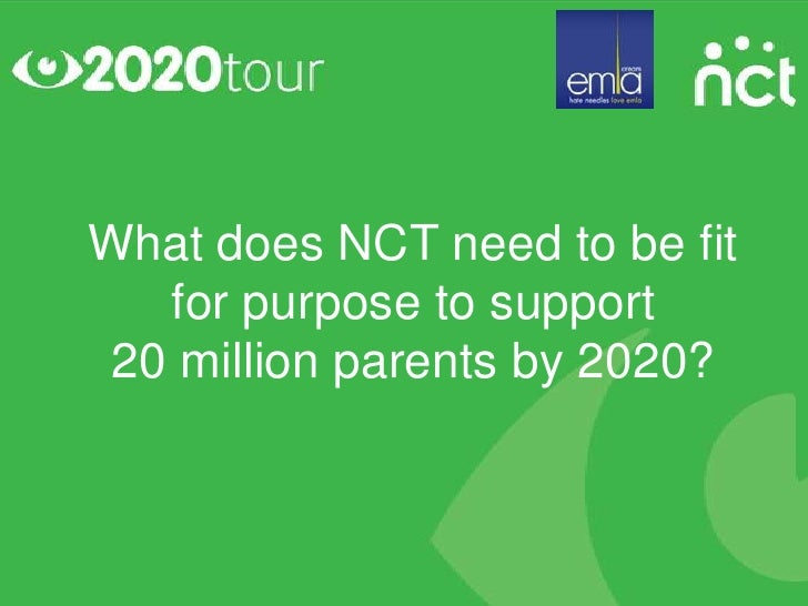 What does NCT need to be fit  for purpose to support20 million parents by 2020?