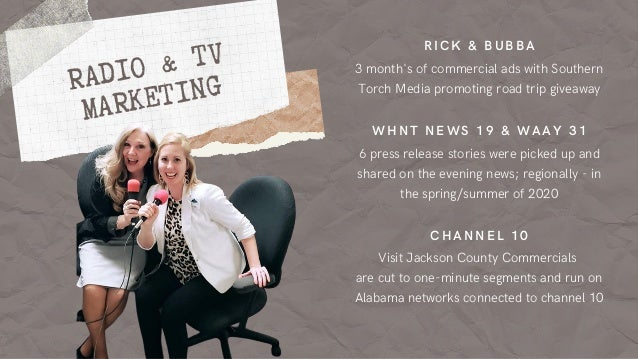 Visit Jackson County Commercials are cut to one-minute segments and run on Alabama networks connected to channel 10 6 pres...