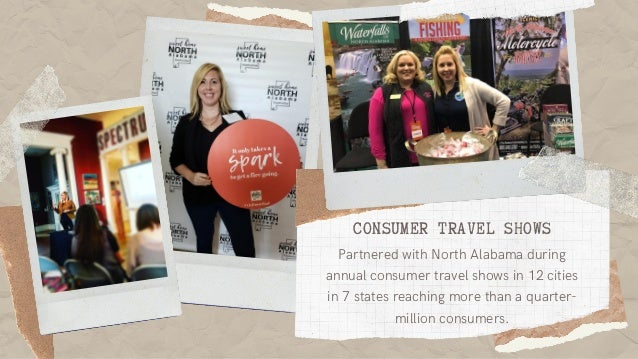 CONSUMER TRAVEL SHOWS Partnered with North Alabama during annual consumer travel shows in 12 cities in 7 states reaching m...
