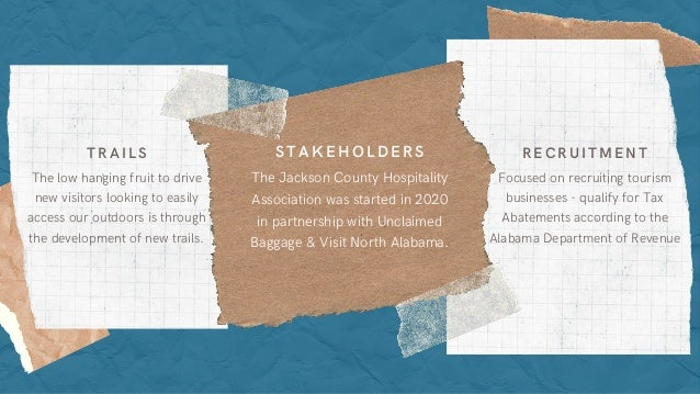 Focused on recruiting tourism businesses - qualify for Tax Abatements according to the Alabama Department of Revenue RECRU...