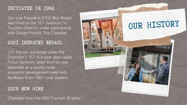 INITIATED IN 1992 Our now President/CEO Rick Roden was hired as the 1ST Jackson Co. Tourism Director under partnership wit...