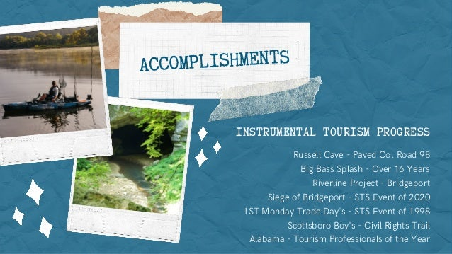 INSTRUMENTAL TOURISM PROGRESS Russell Cave - Paved Co. Road 98 Big Bass Splash - Over 16 Years Riverline Project - Bridgep...