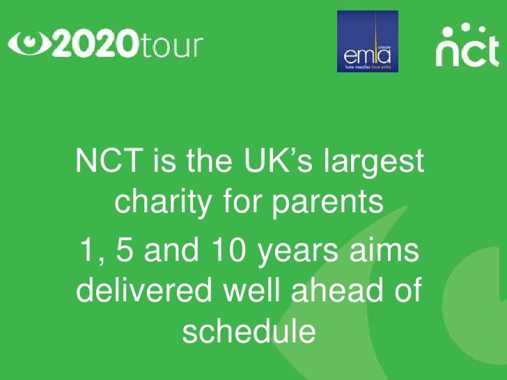 NCT is the UK's largest   charity for parents1, 5 and 10 years aimsdelivered well ahead of       schedule