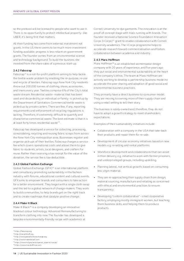 Global Expert Mission Report Us Sustainable Innovation In Fashion 20
