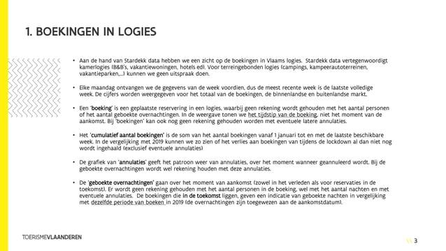3 1. BOEKINGEN IN LOGIES • Aan de hand van Stardekk data hebben we een zicht op de boekingen in Vlaams logies. Stardekk da...