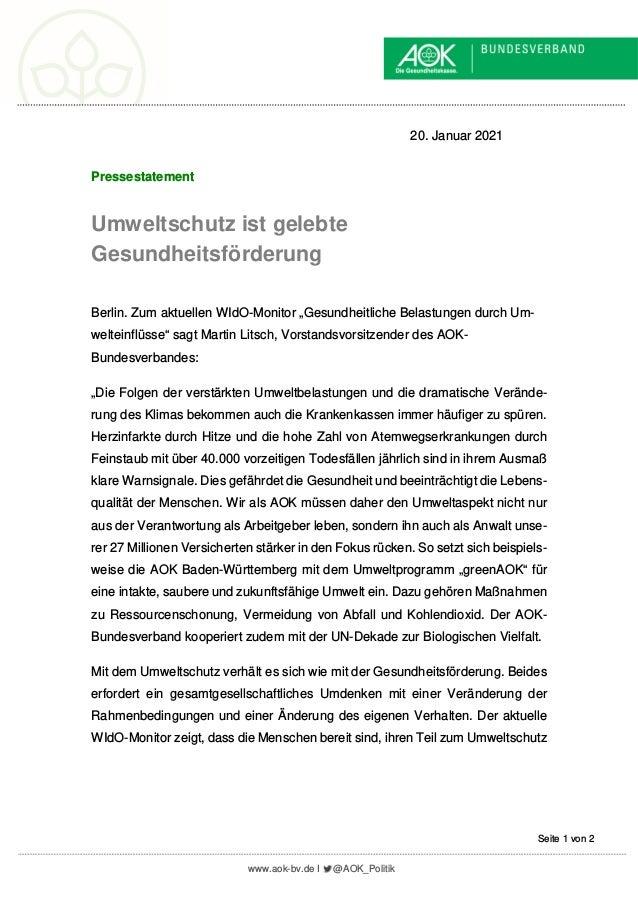 www.aok-bv.de I @AOK_Politik Seite 1 von 2 20. Januar 2021 Pressestatement Umweltschutz ist gelebte Gesundheitsförderung B...