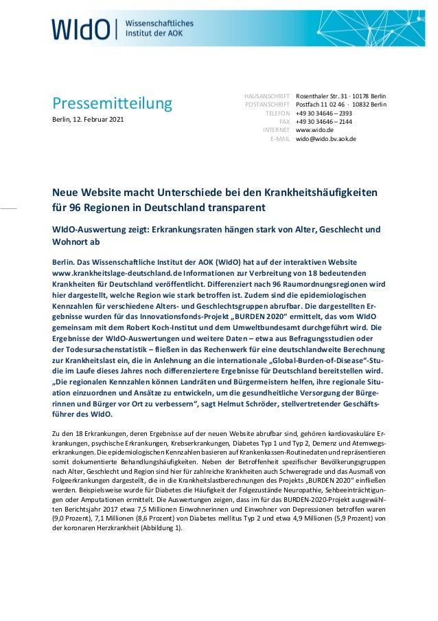 Pressemitteilung Berlin, 12. Februar 2021 HAUSANSCHRIFT POSTANSCHRIFT TELEFON FAX INTERNET E-MAIL Rosenthaler Str. 31 · 10...