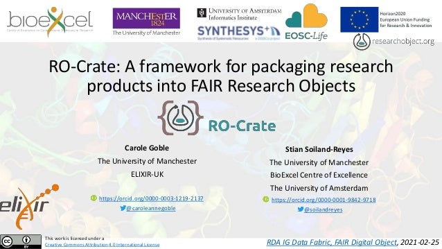 RO-Crate: A framework for packaging research products into FAIR Research Objects Carole Goble The University of Manchester...