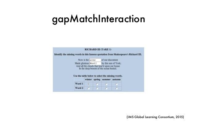 gapMatchInteraction (IMS Global Learning Consortium, 2015)