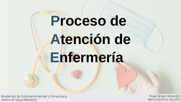 Proceso de Atención de Enfermería Paula Berges Mata (R2) María Martínez Oca (R1) Residentes de Enfermería Familiar y Comun...