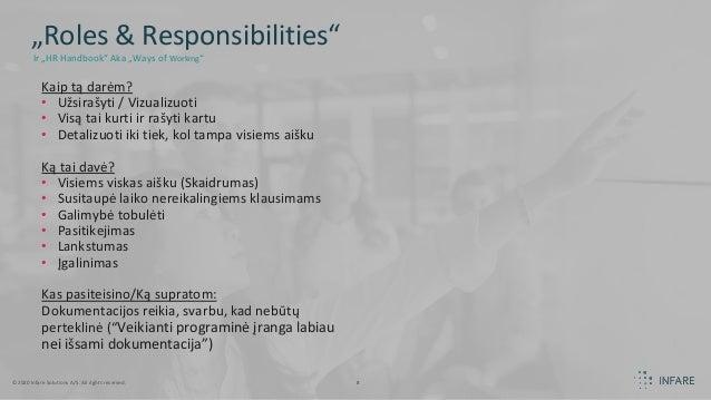 """©2020 Infare Solutions A/S. All rights reserved. 8 """"Roles & Responsibilities"""" Kaip tą darėm? • Užsirašyti / Vizualizuoti •..."""